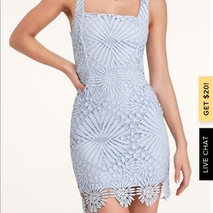 Heartstrings Light Blue Lace Mini Dress